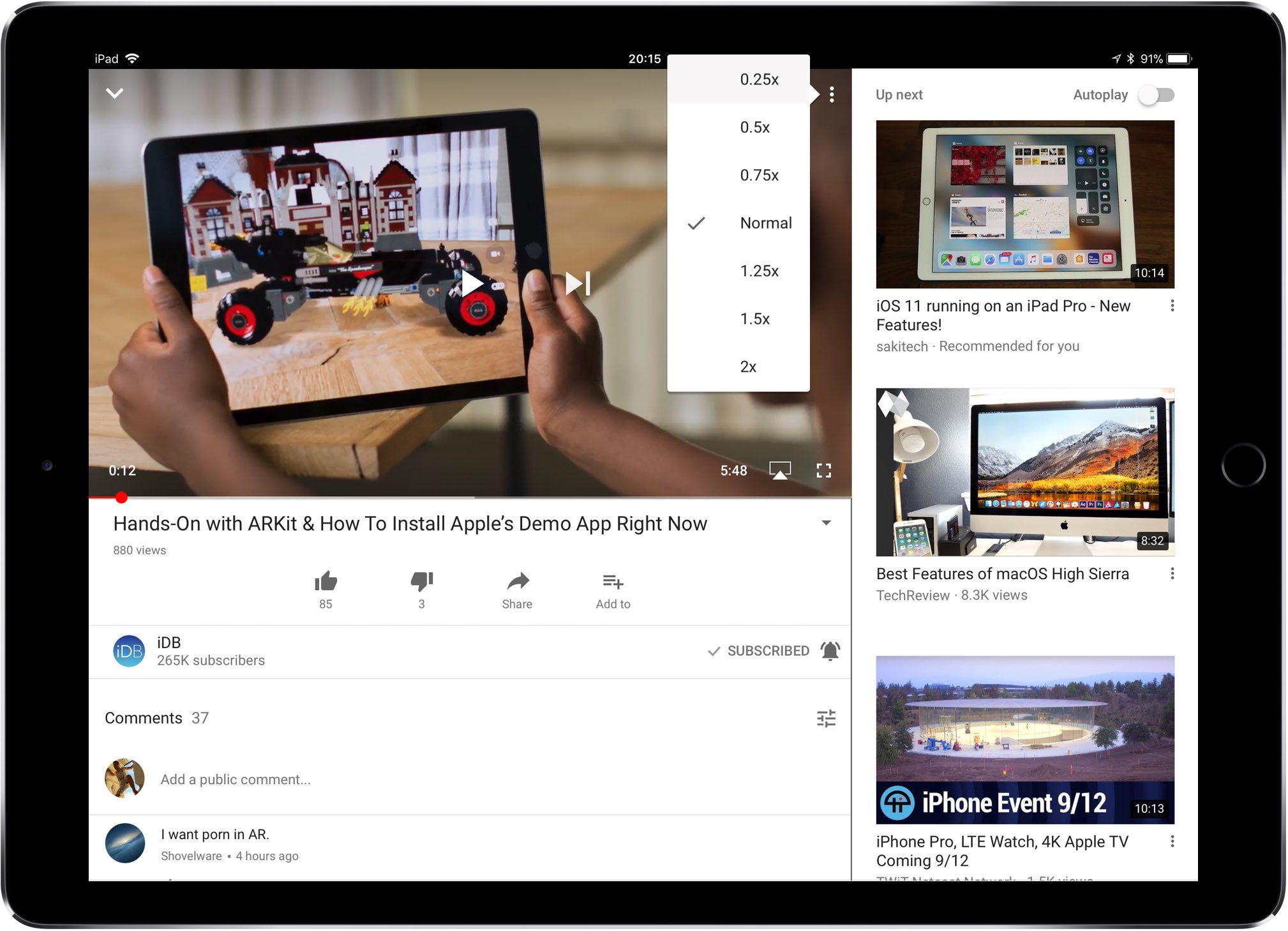 how to speed up youtube videos on iphone