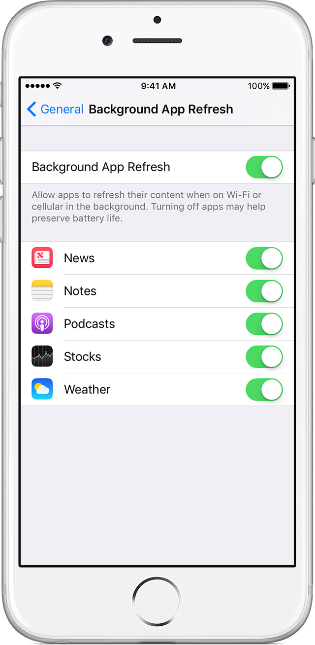 How to disable background refreshing for iOS apps when on