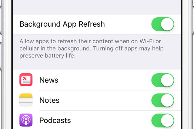 How to disable background refreshing for iOS apps when on cellular