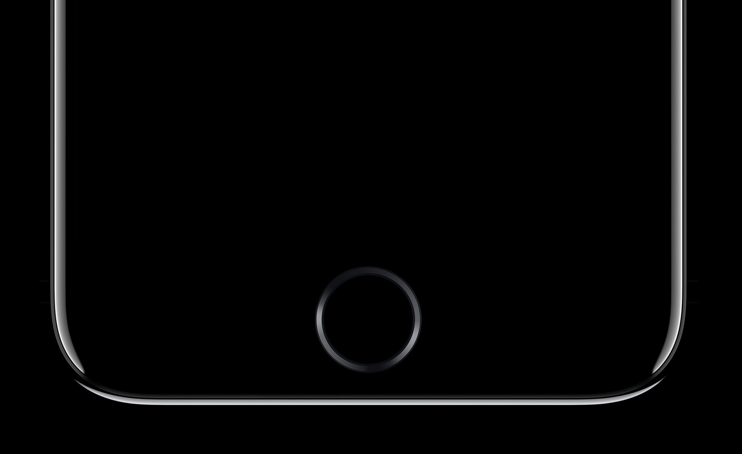 An image showing an iPhone with black screen and Touch ID below the screen