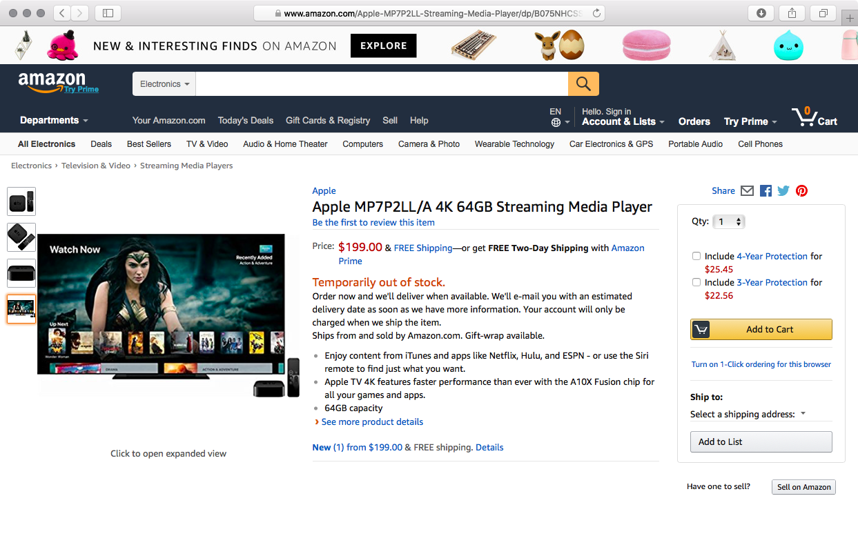 Apple TV 4K listing pops up on Amazon, suggesting Prime Video tvOS
