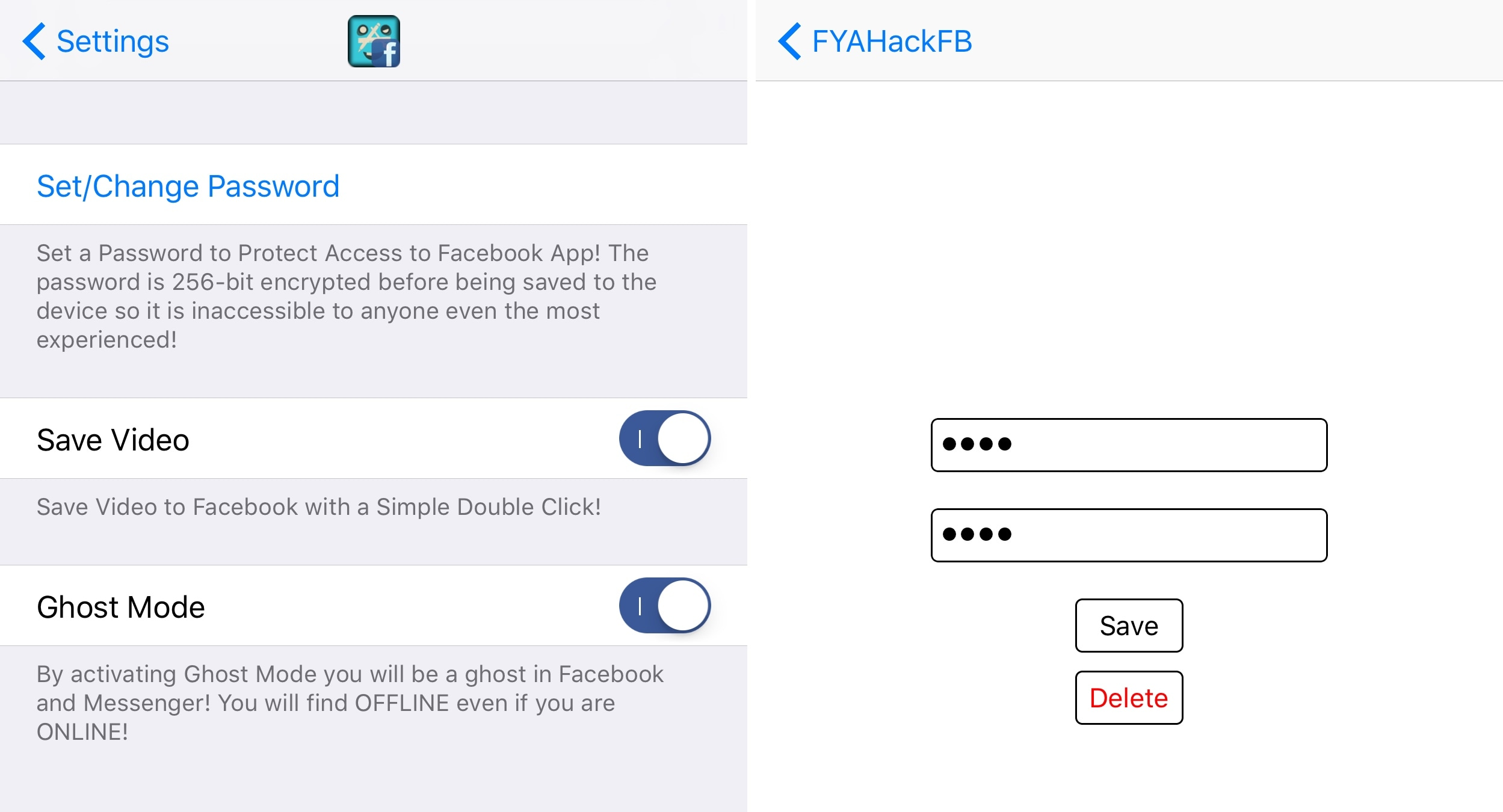 This tweak adds new privacy and convenience features to the Facebook app