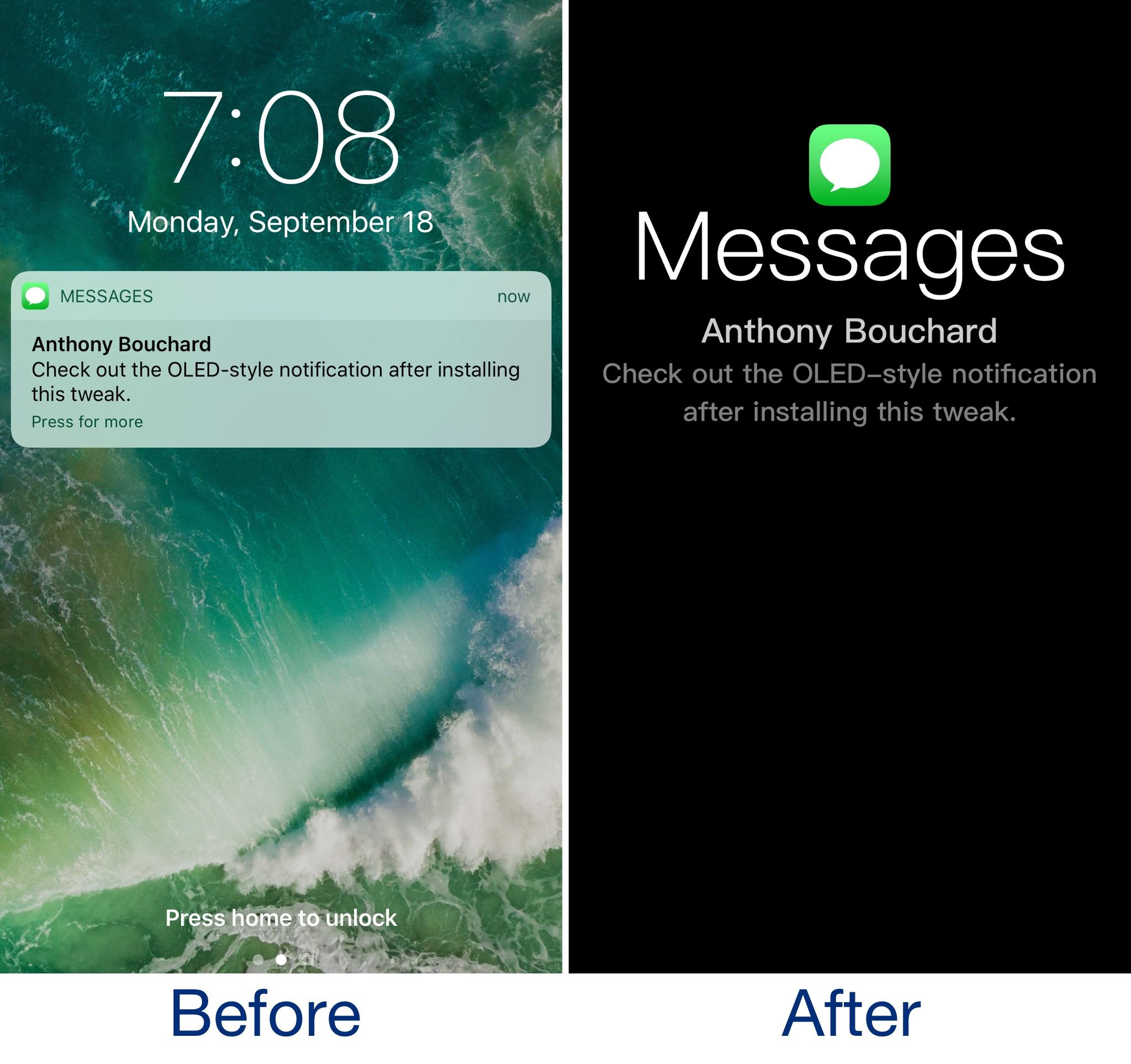 OLEDification emulates OLED-style notifications on your jailbroken iPhone