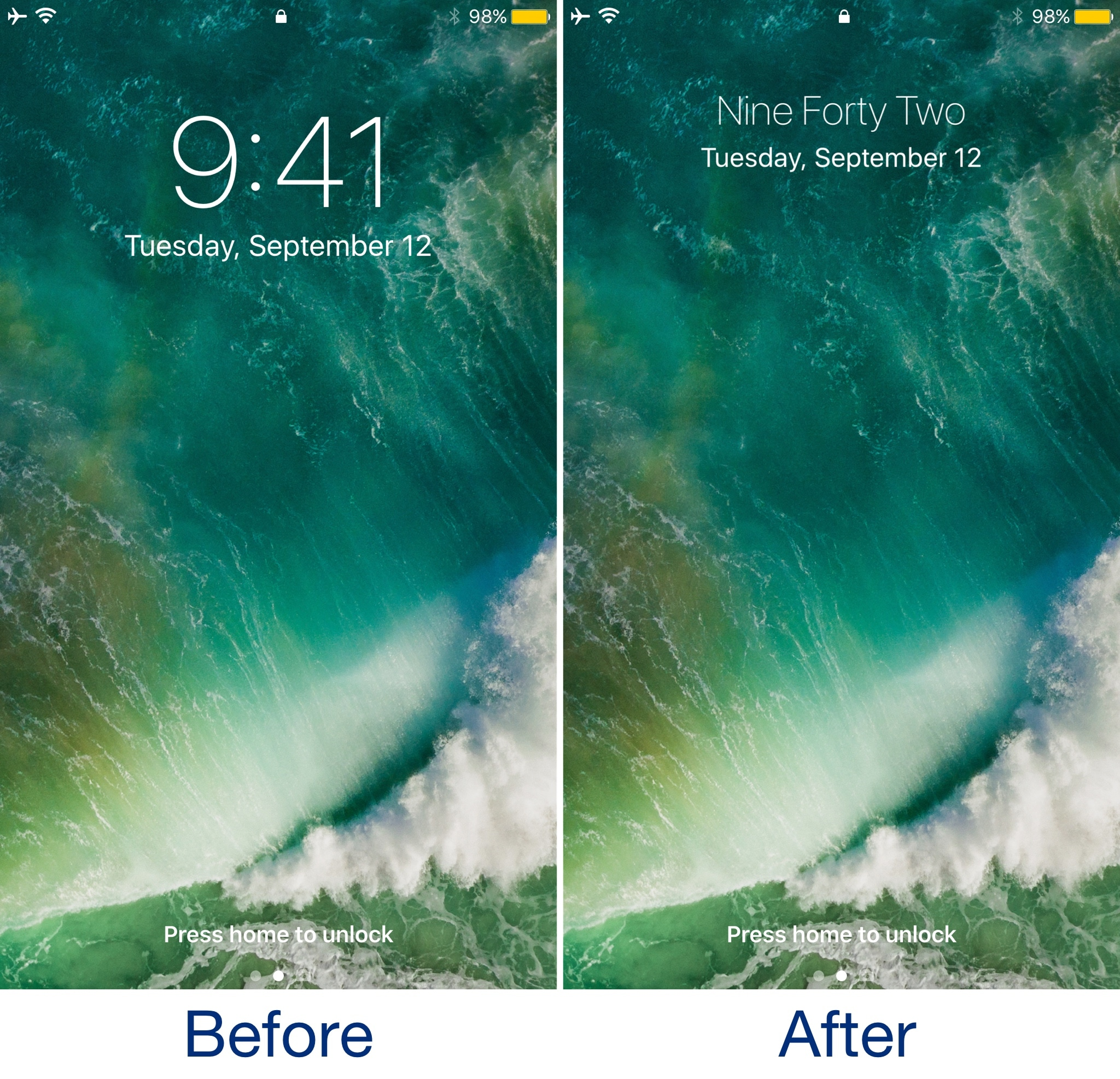 TextyClock replaces the digital clock on your jailbroken
