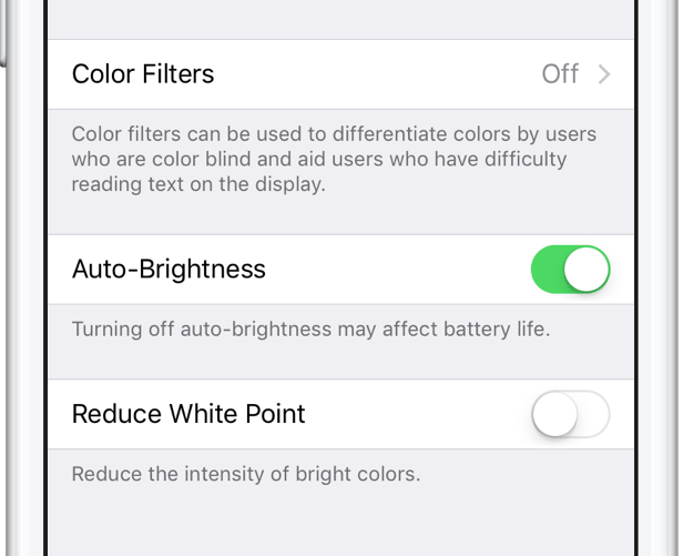 setting for auto-brightness iphone