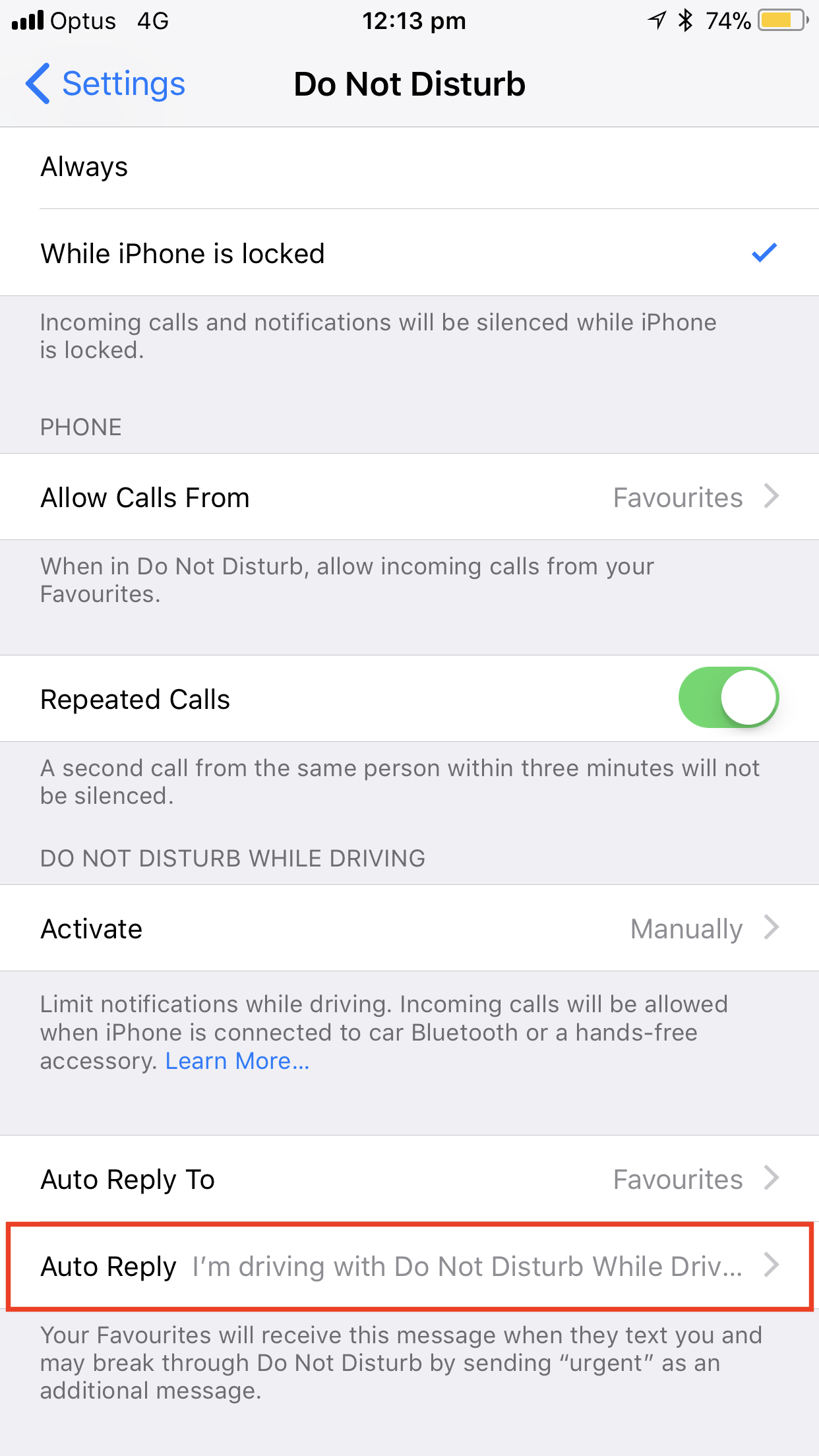How to customize 'Do Not Disturb While Driving' response on