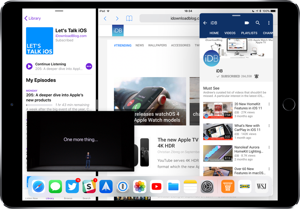 iPad multitasking: running fours apps at once (Split View, Slide Over and Picture-in-Picture)