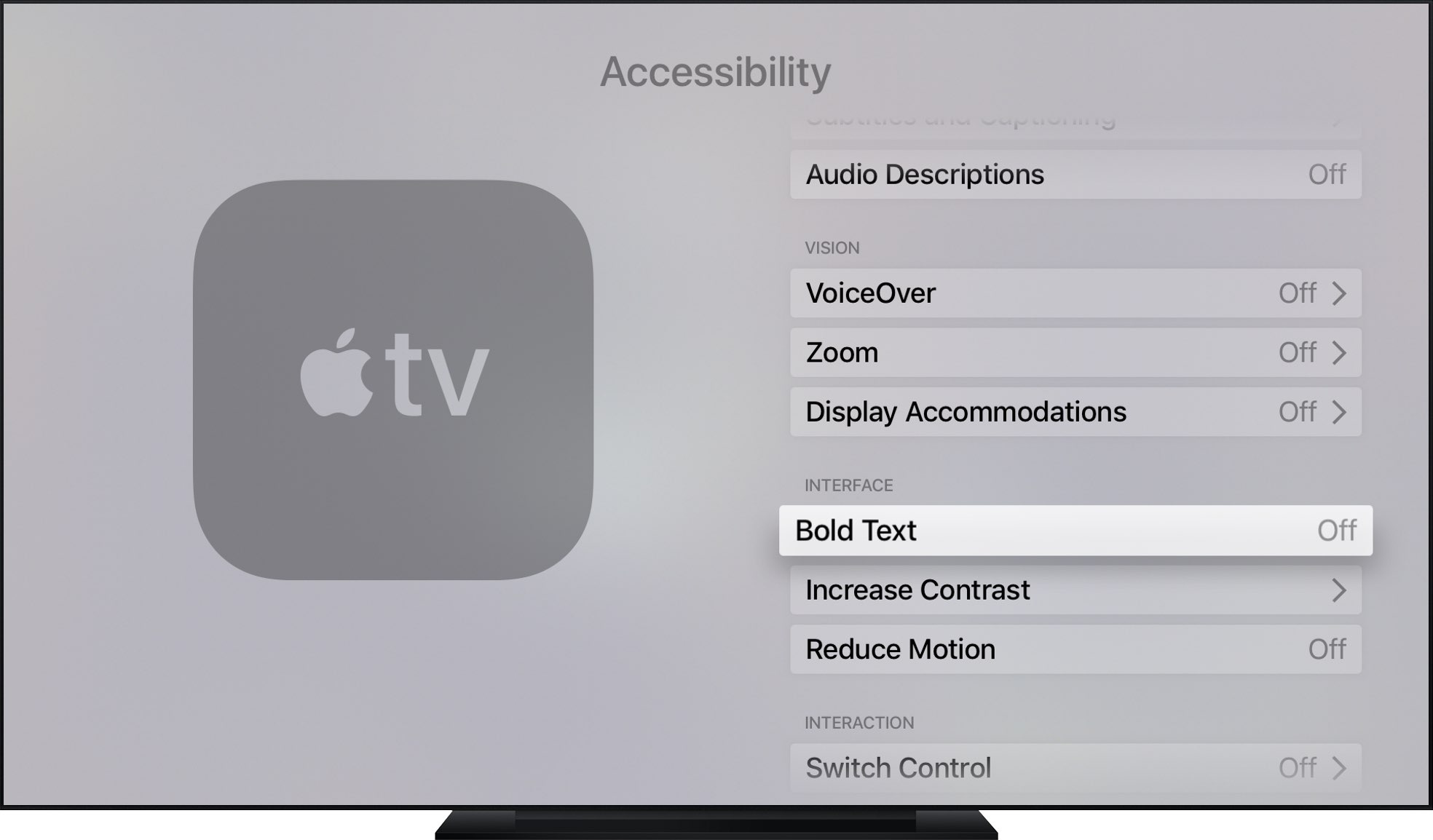 How to enable bold text throughout the Apple TV interface