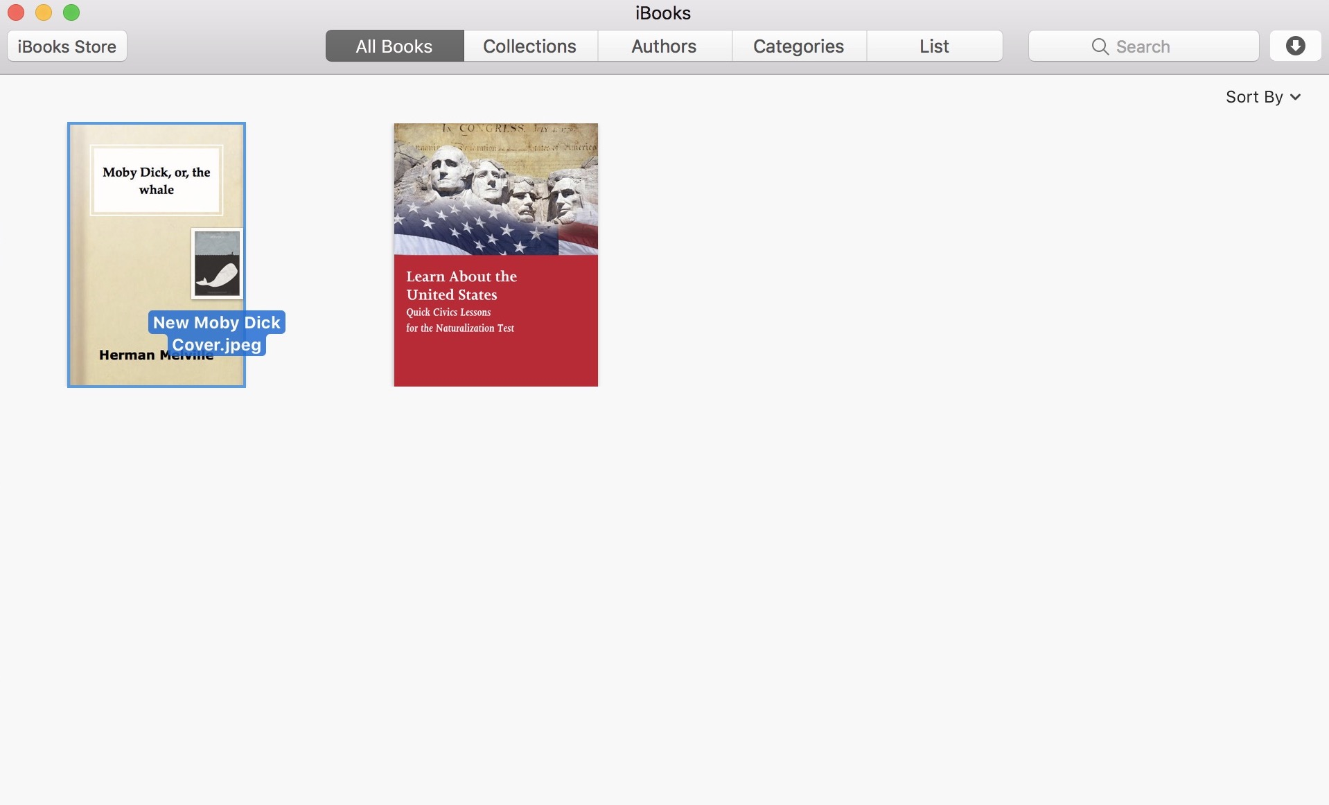 How to change the cover of a book in iBooks