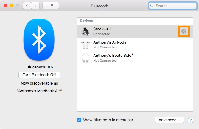 prepare mac for sale - unpair bluetooth devices