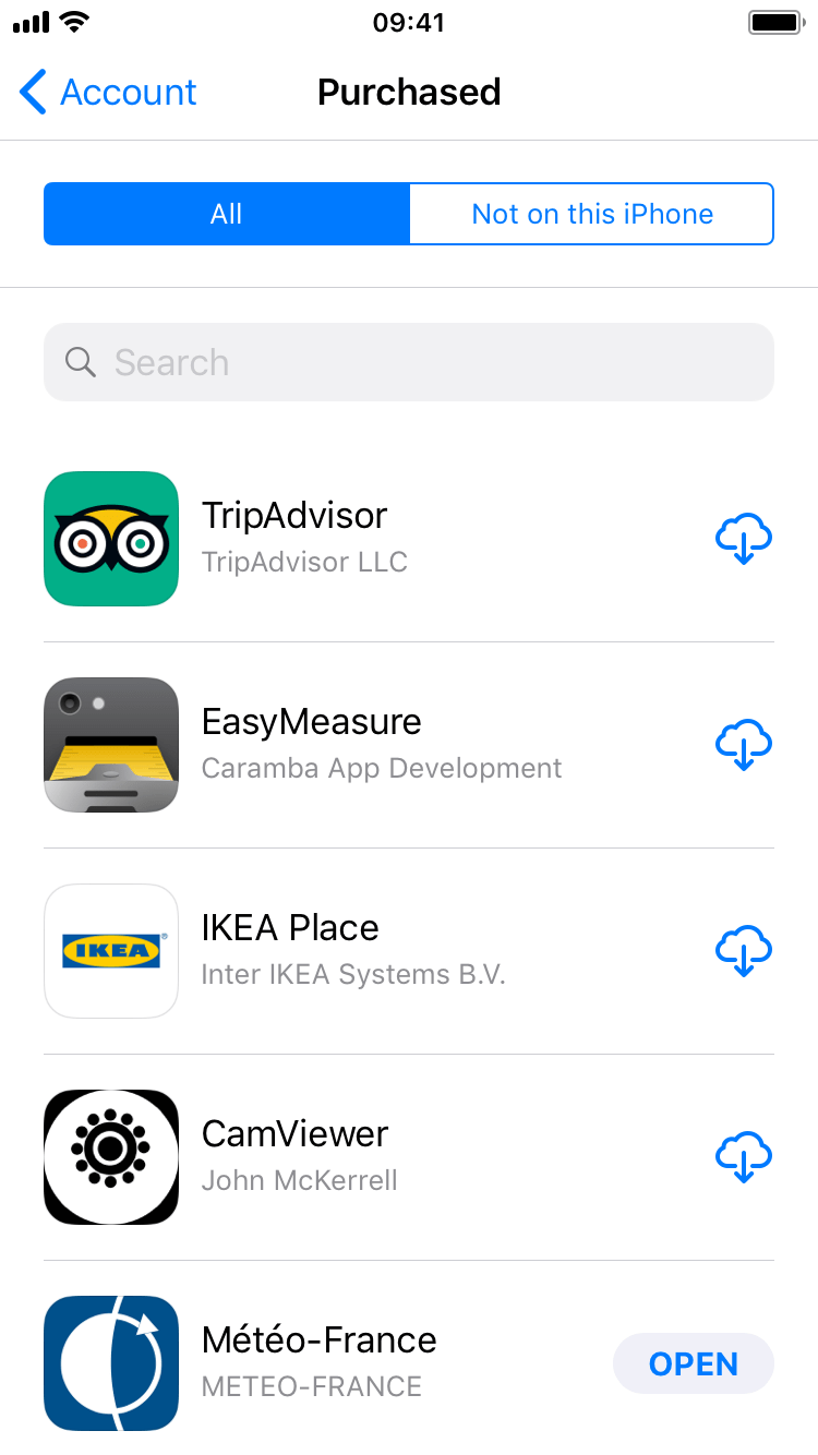 view purchased apps in app store download history