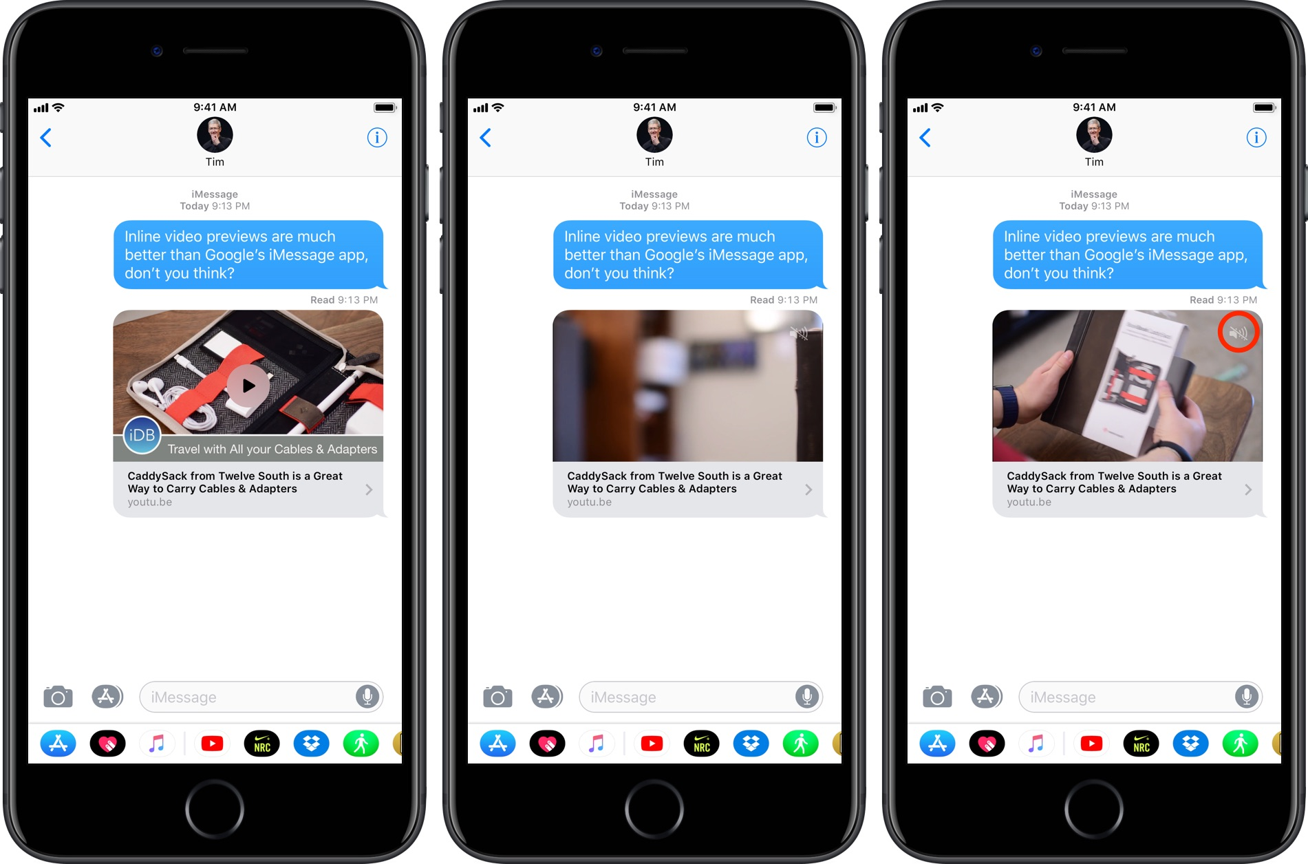 YouTube iMessage sharing