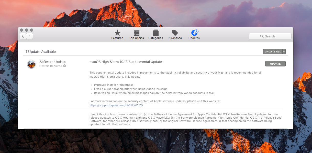 macOS High Sierra 10 13 Supplemental Update fixes Keychain & APFS