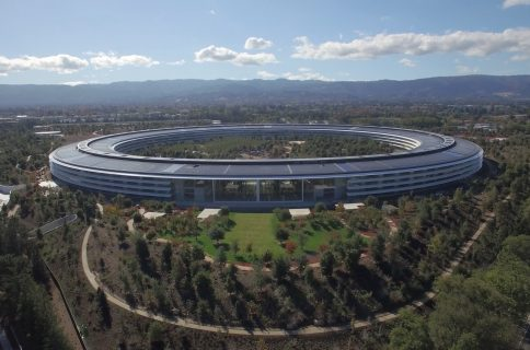 Apple has erected a giant rainbow-colored stage in the middle of the