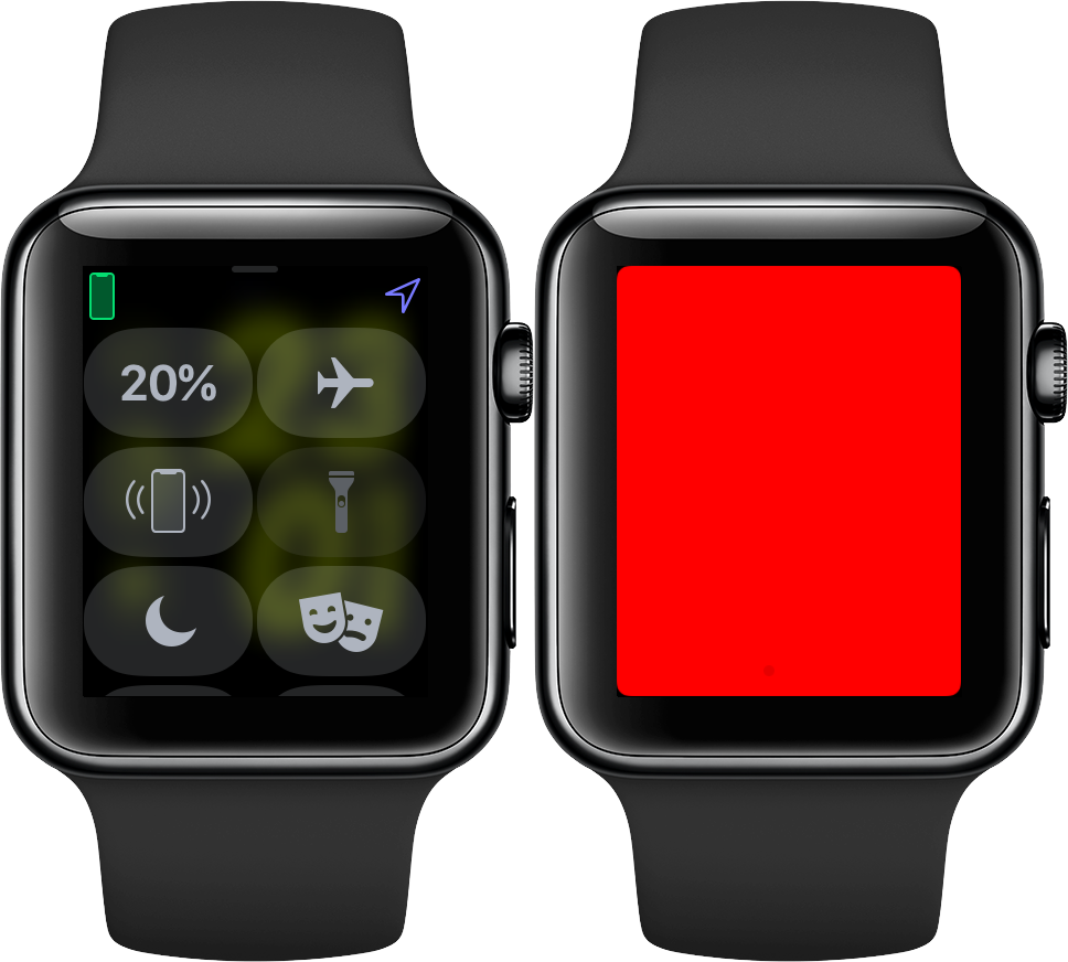 The red Flashlight on Apple Watch