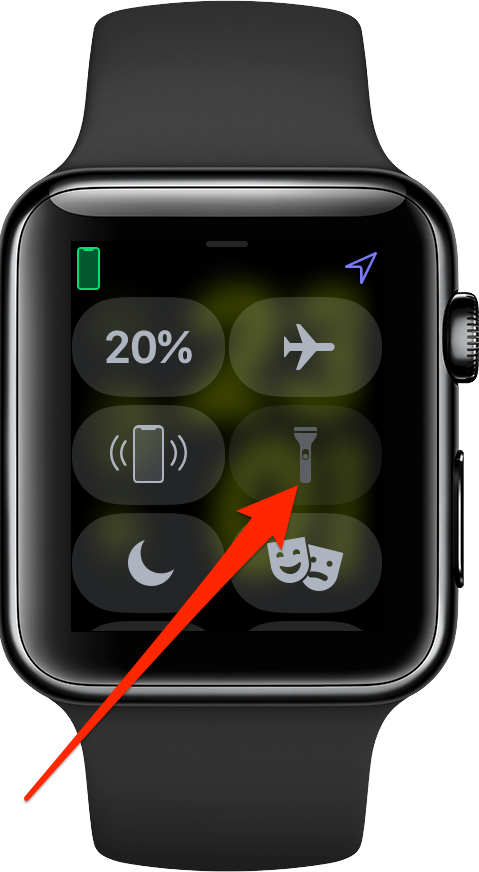 The flashlight icon in Apple Watch Control Center