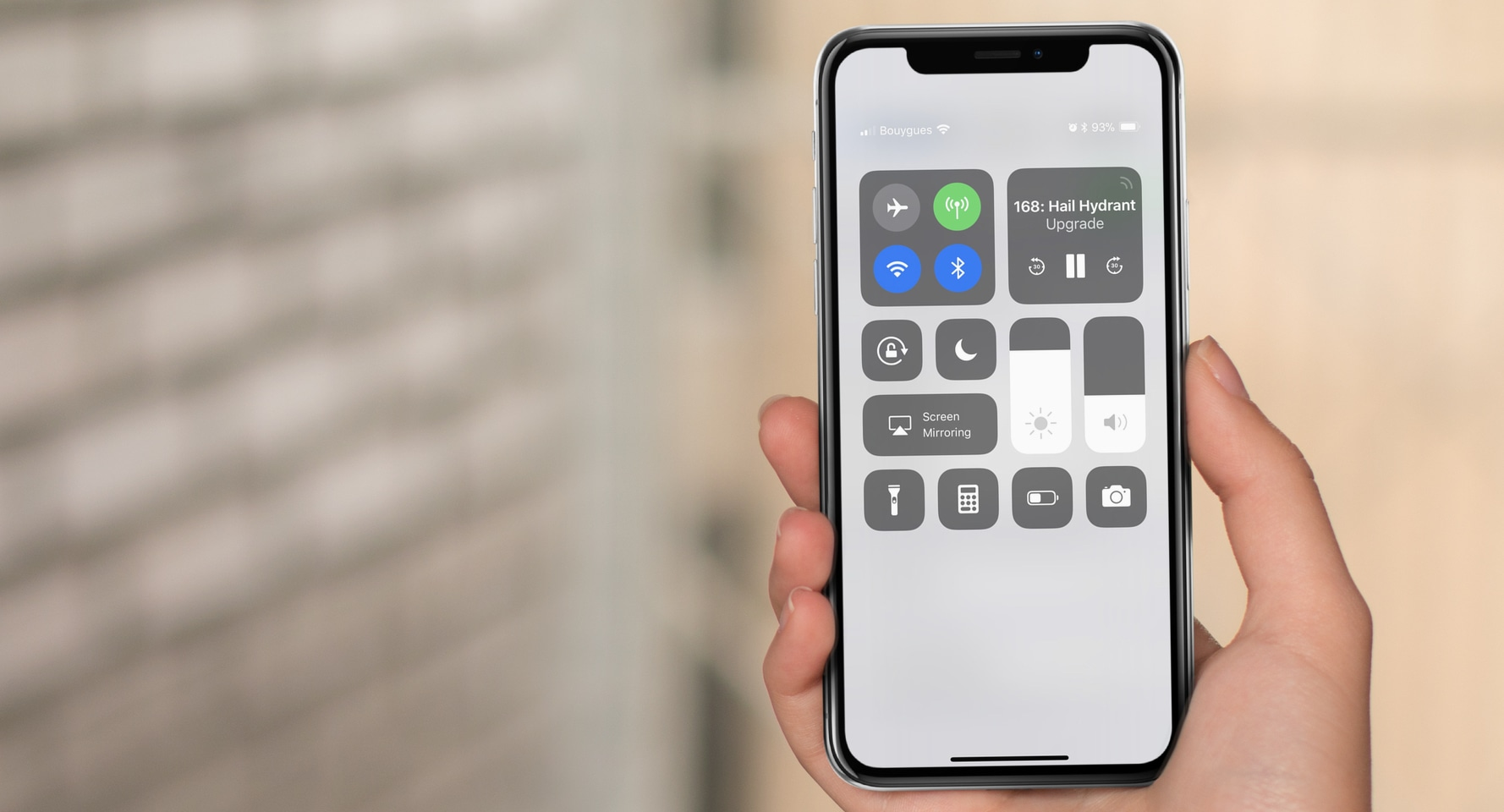 iPhone X Control Center