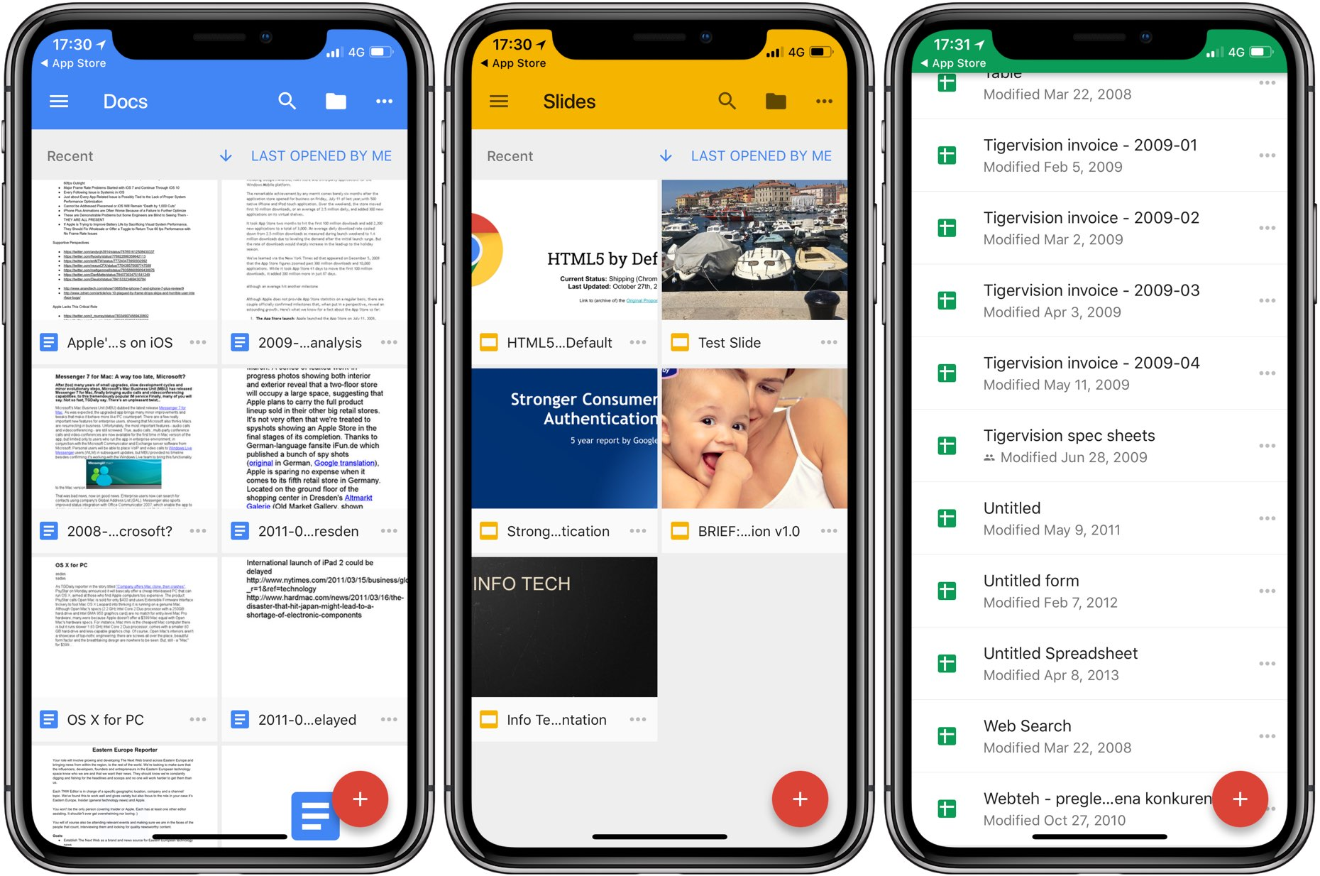 google updates docs sheets and slides with iphone x ios 11 drag