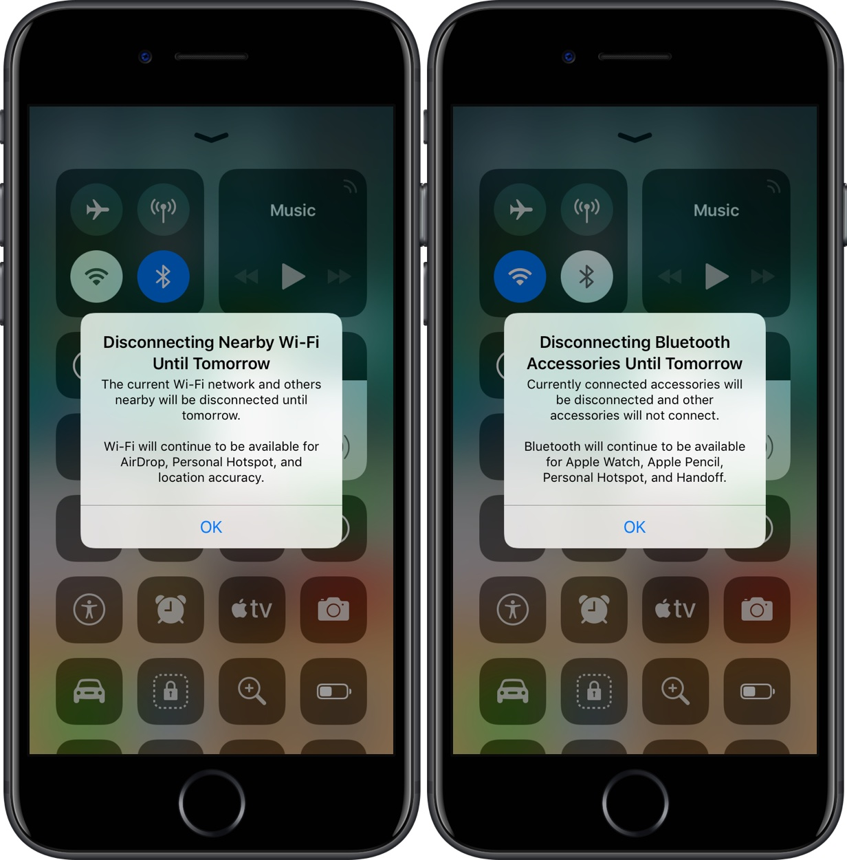 iOS 11 2 makes it clearer how Control Center's Wi-Fi and Bluetooth