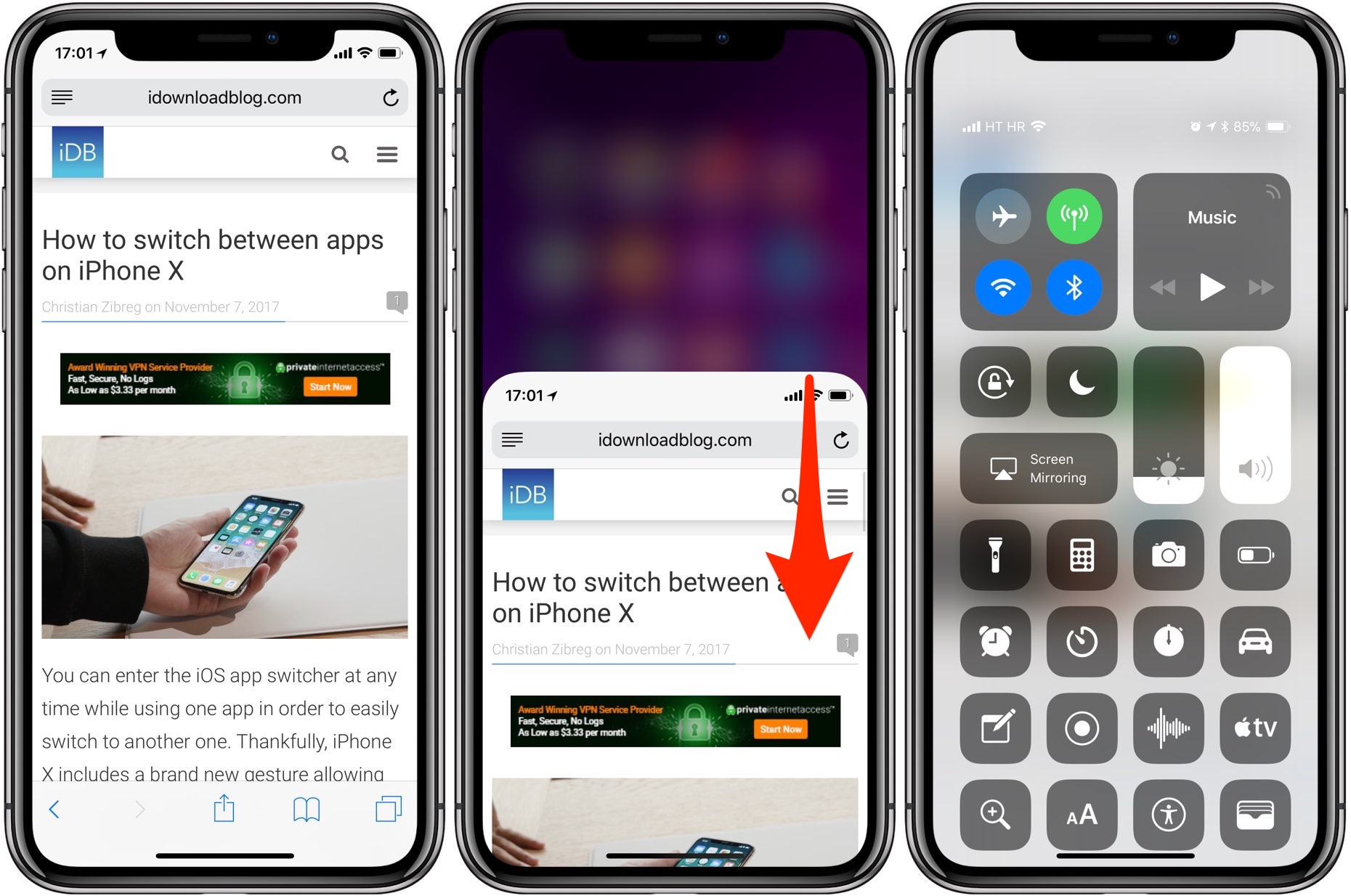 iPhone X notifications and Control Center
