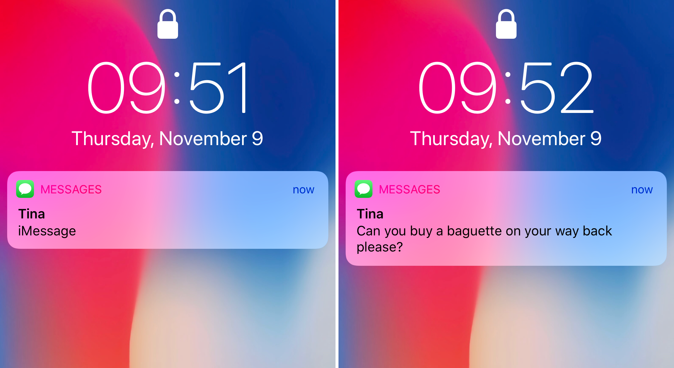 iPhone X notification preview