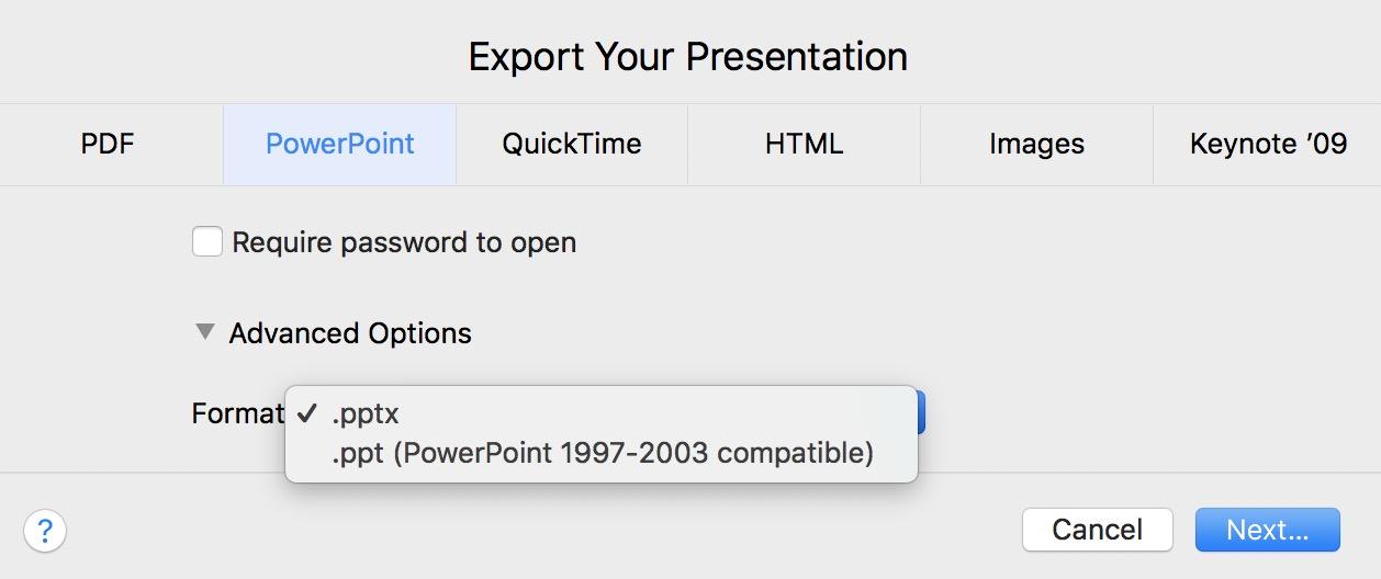 Elija el formato de exportación .ppt o .pptx