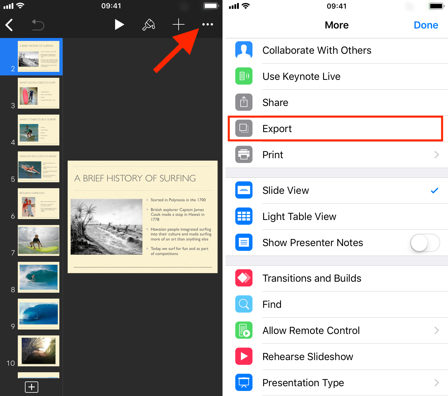 Convertir Keynote a PowerPoint en iPhone