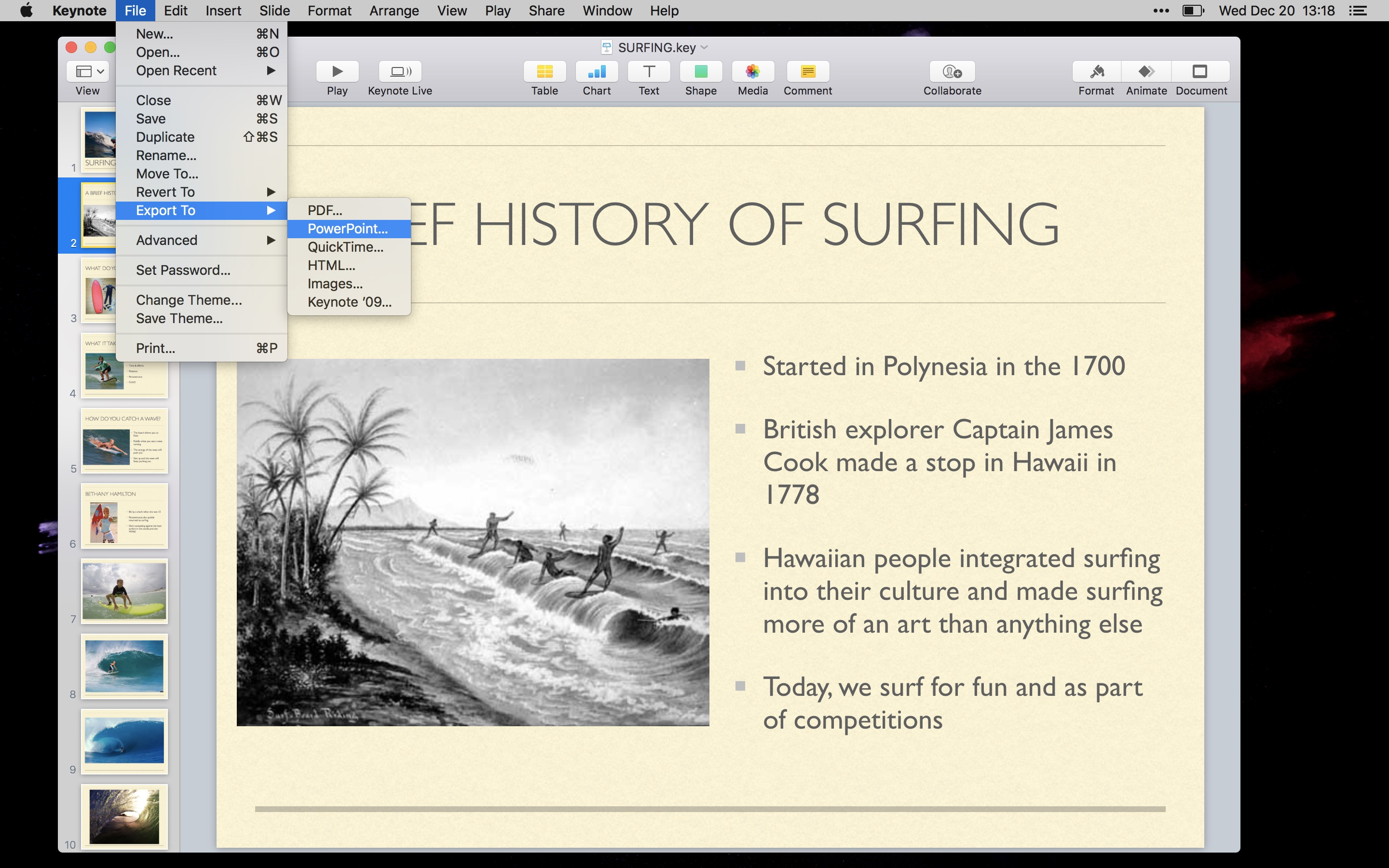 Export Keynote to Powerpoint on Mac