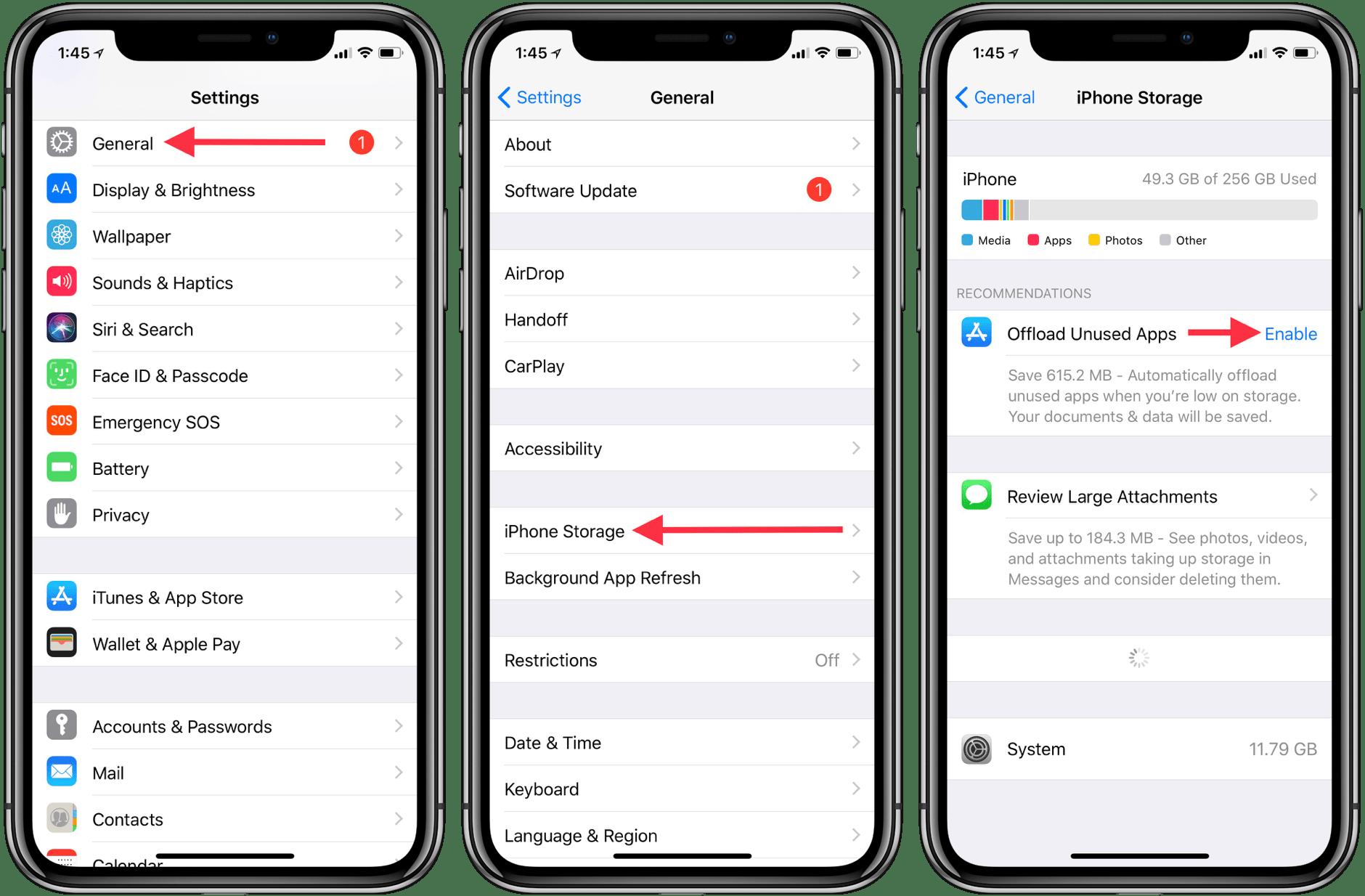 offload unused apps iphone storage