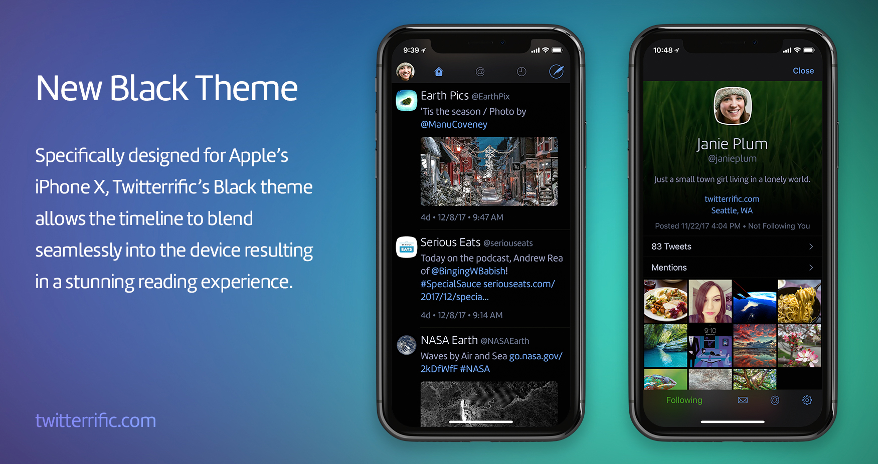 A banner announcing available of the new Twitterrific Dark Mode in the iPhone and iPad app