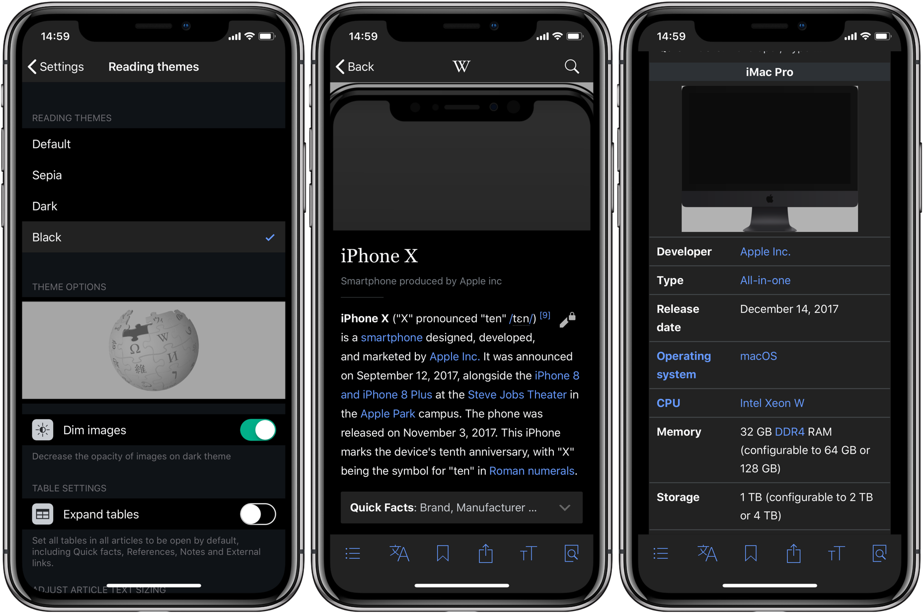 Wikipedia for iOS picks up black reading theme perfect for