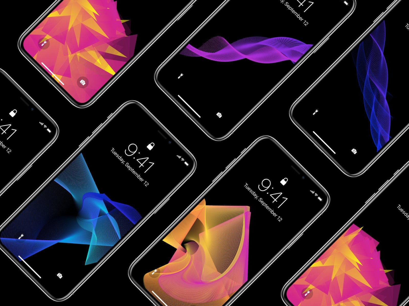 Colorful abstract iPhone wallpapers in a sea of black