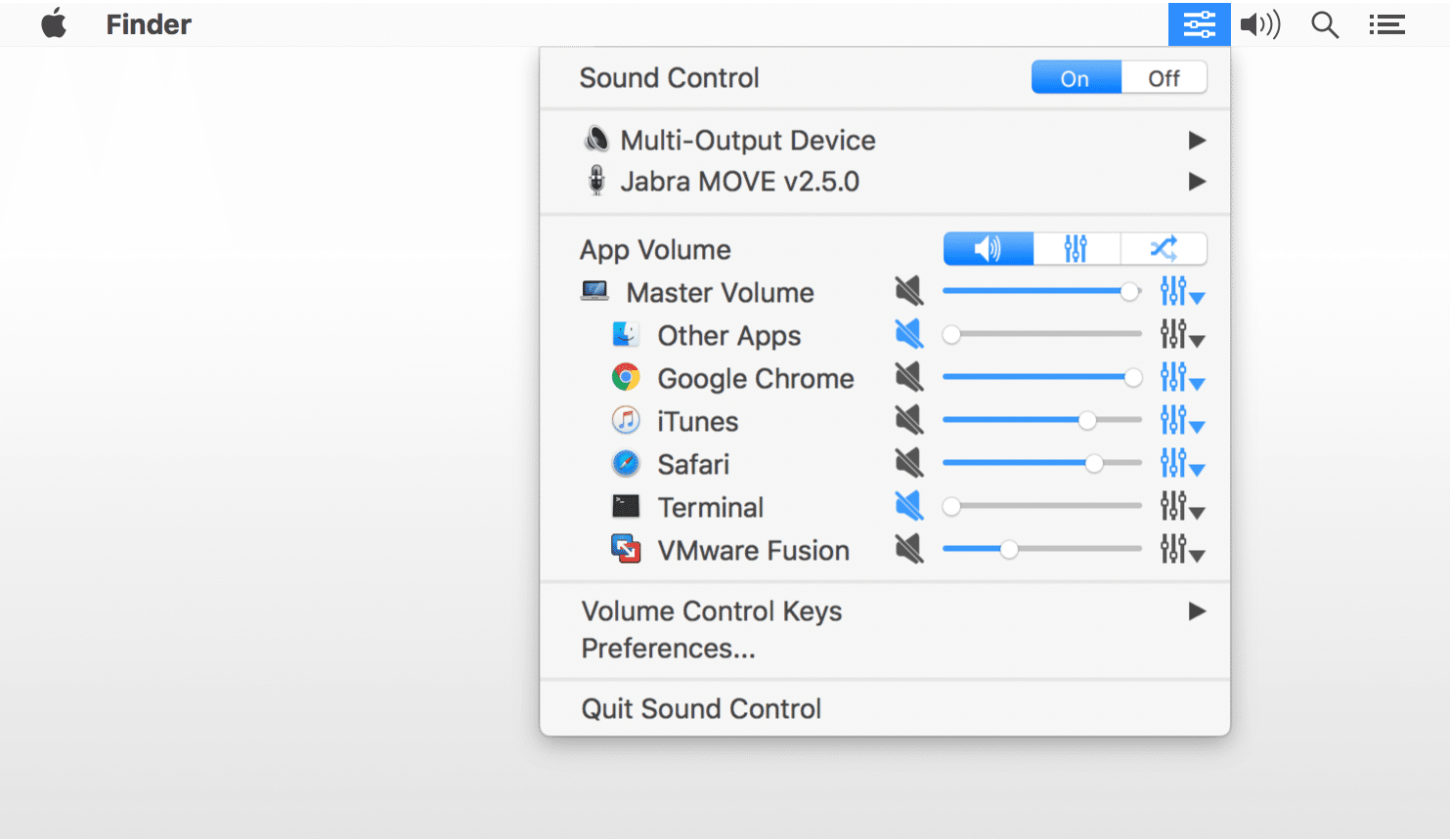 Manage application specific audio with Sound Control for Mac