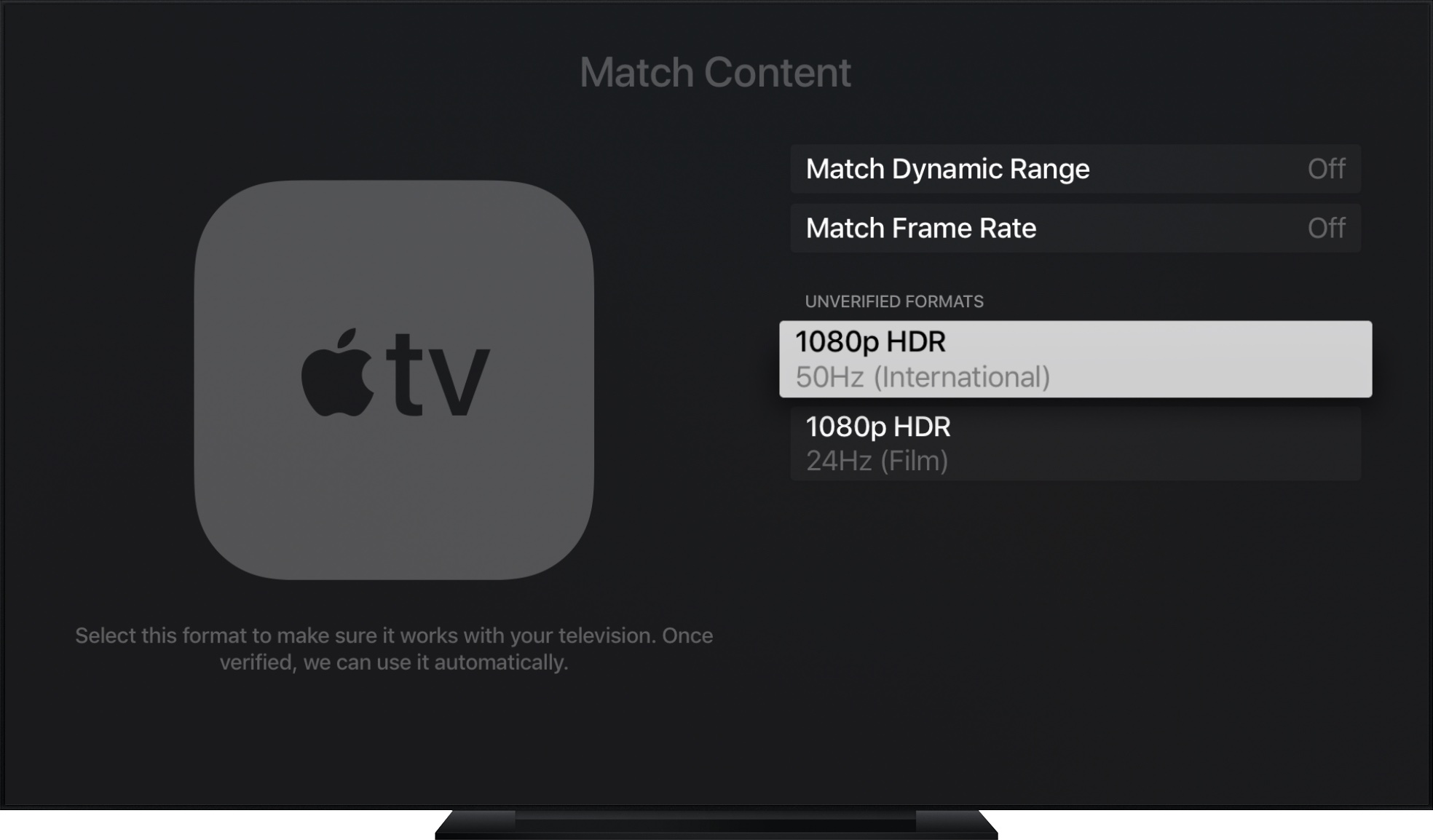 How to use automatic frame rate and dynamic range switching on Apple TV