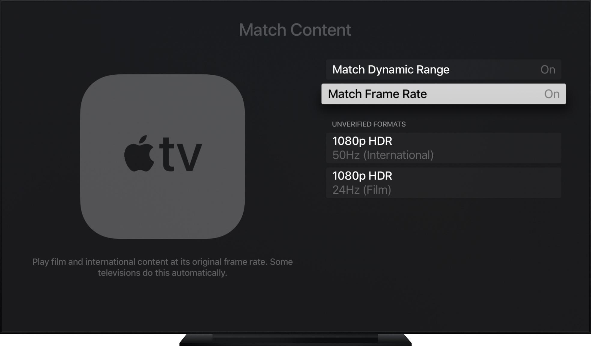 apple tv frame rate