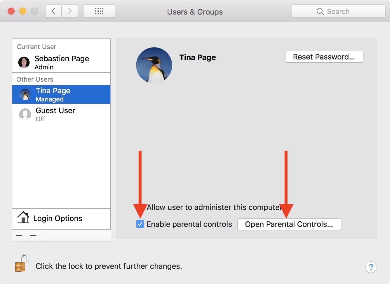 Habilitar controles parentales en Mac