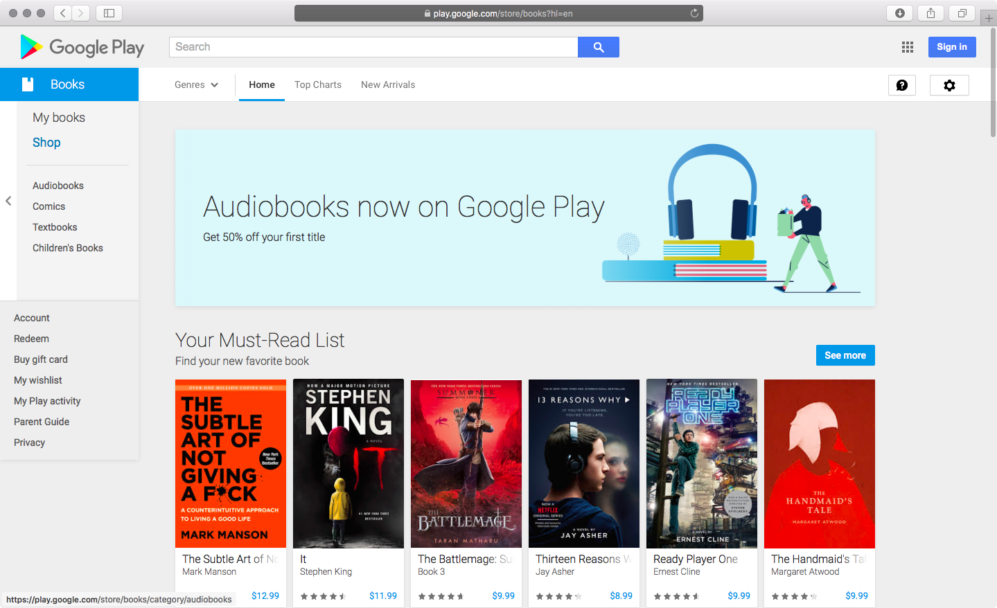 Google is now selling audiobooks on Play Store, available on