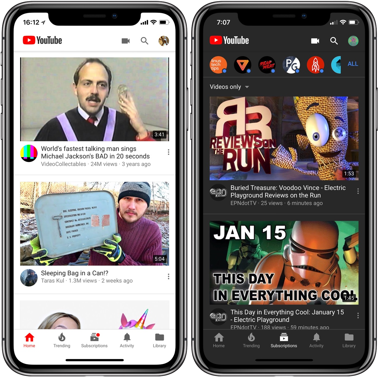 youtubes standard white interface at left and the new dark theme at right