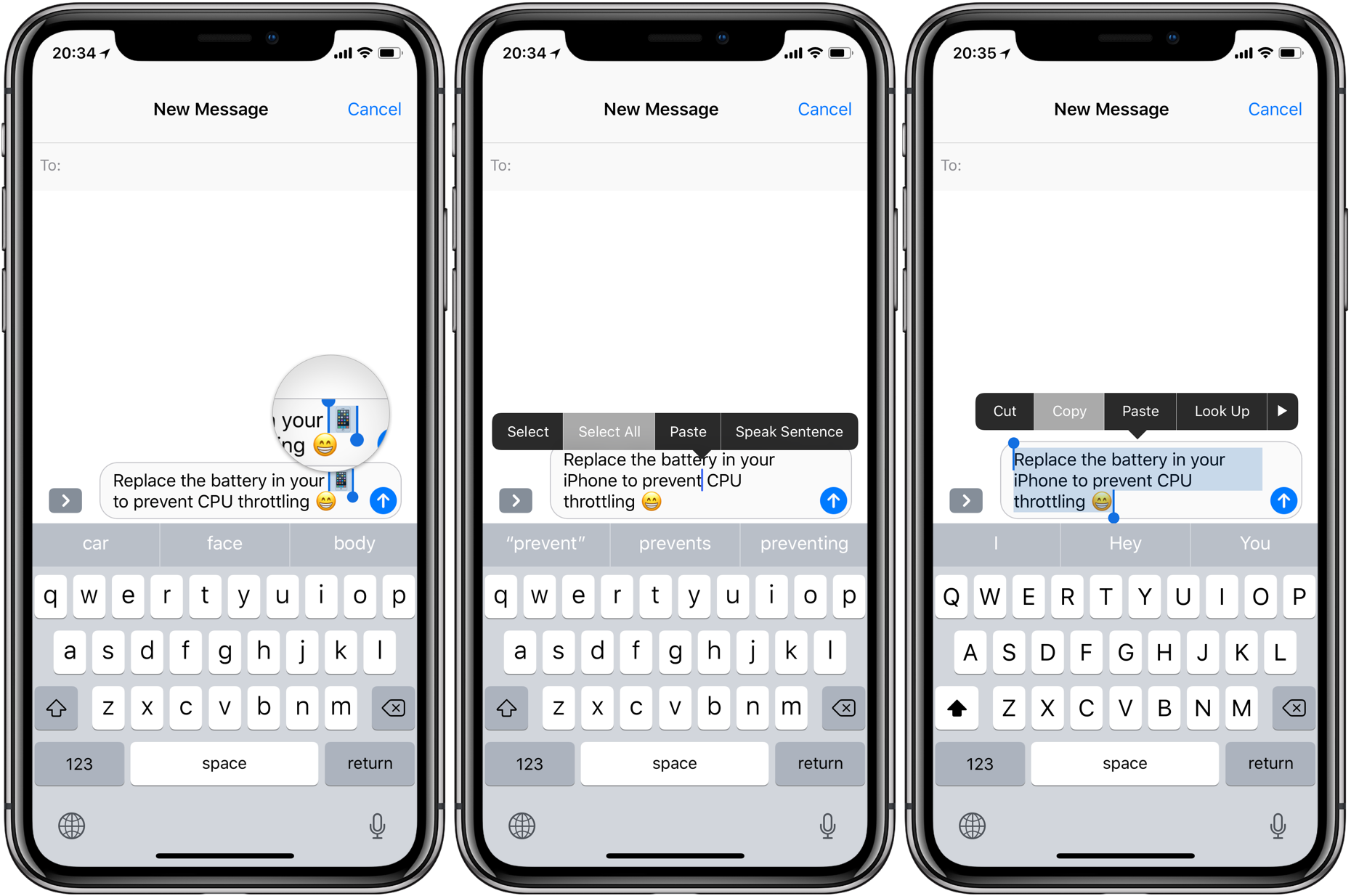 copy text messages iphone