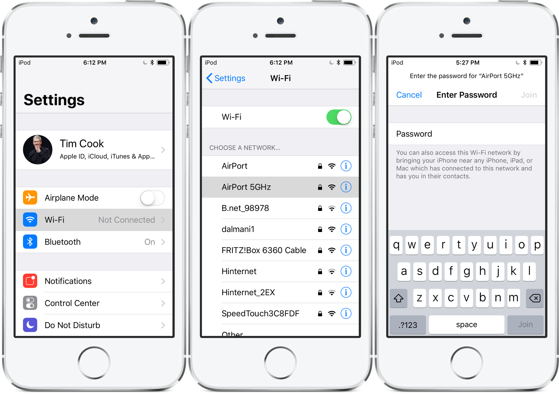 share wifi password ios 11 - settings