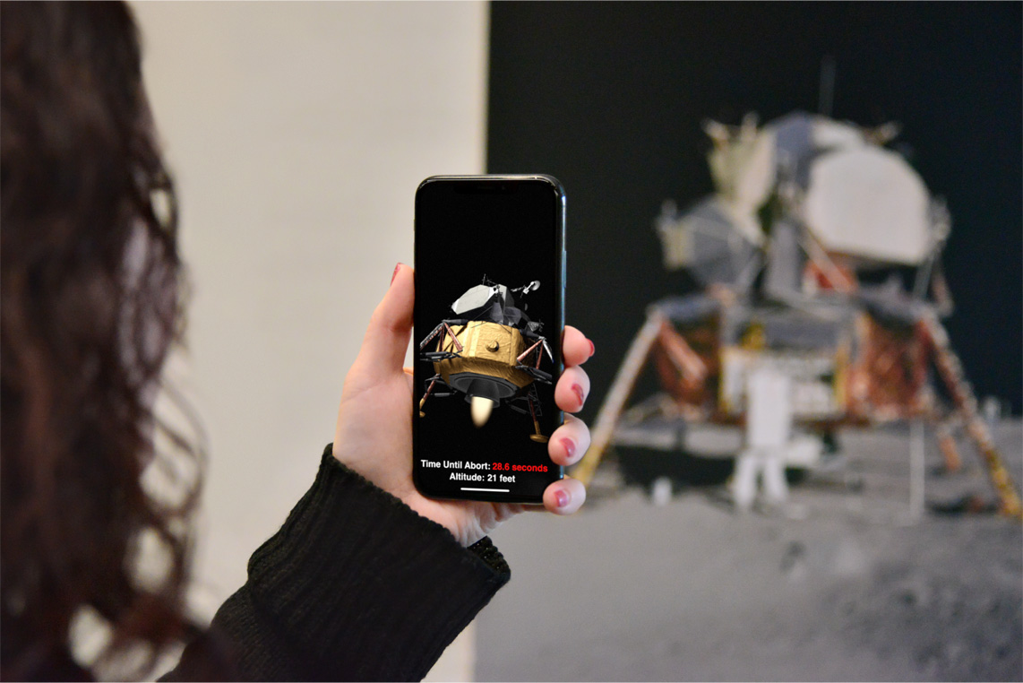 The ARKit 1.5 demo showing the Moon landing movie poster