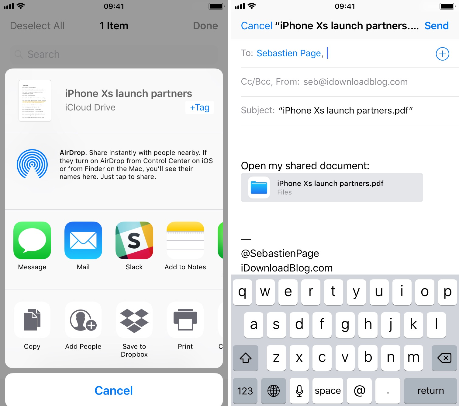 Add people to share iCloud document on iPhone