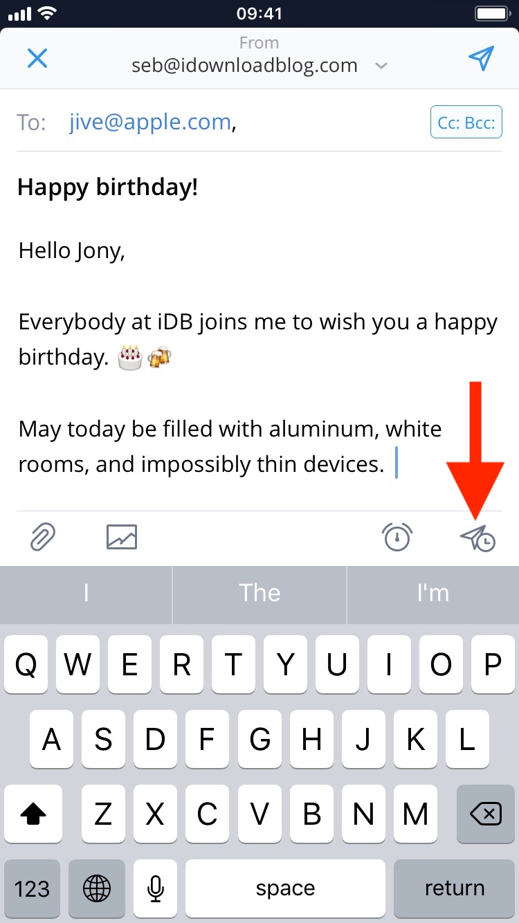 Draft email to schedule on iPhone