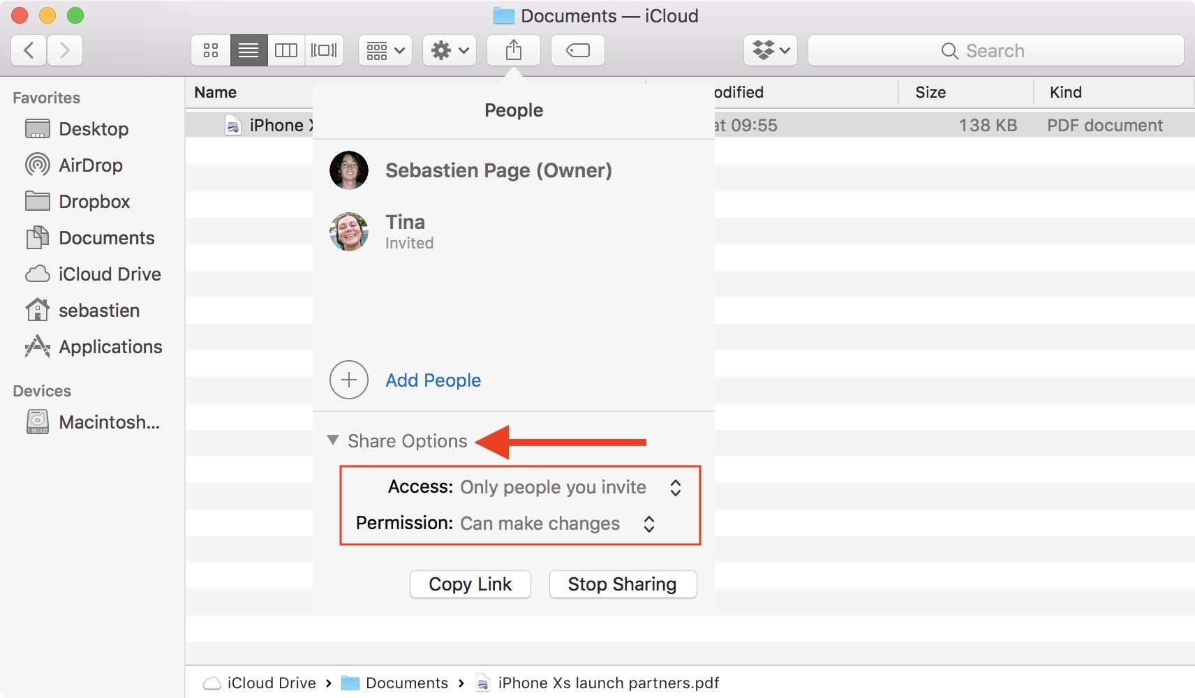 Edit iCloud drive file permission for everybody