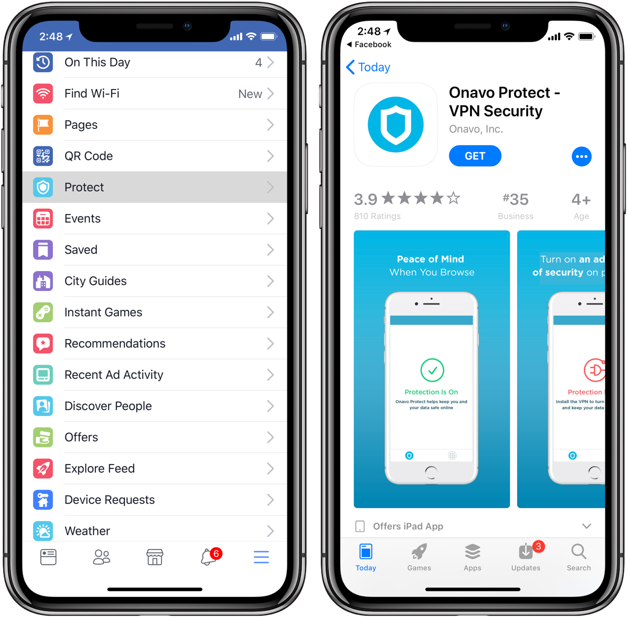 Facebook is pushing its own Onavo VPN service within iOS app