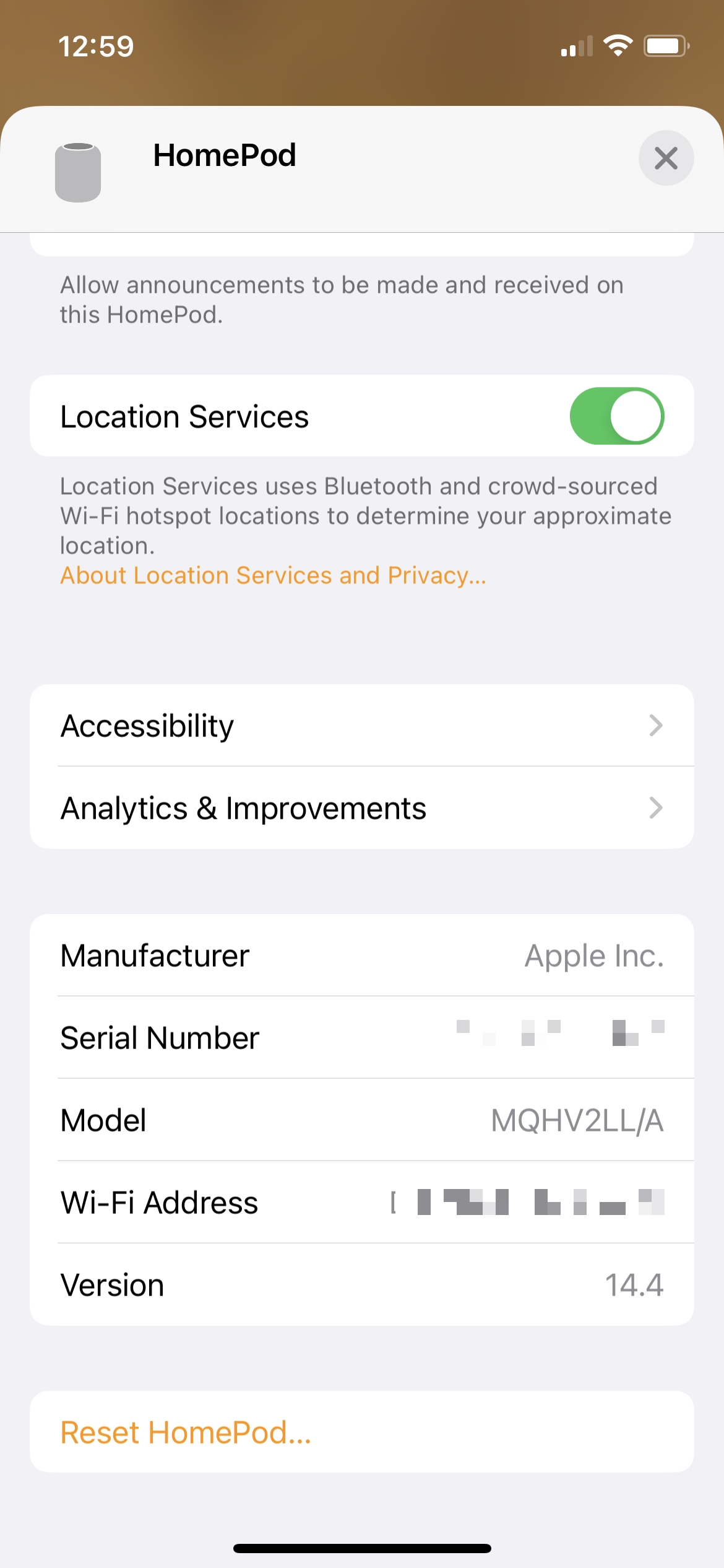 HomePod Serial and Version in the Home App