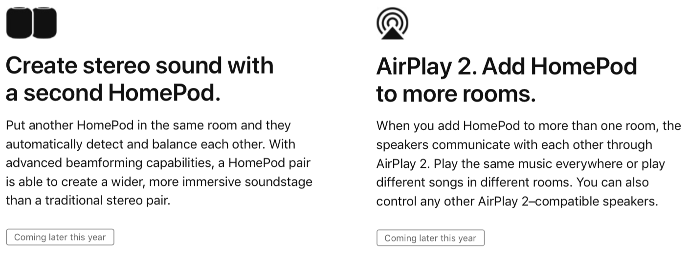 """HomePod's """"FullRoom"""" stereo pairing is coming soon, followed"""
