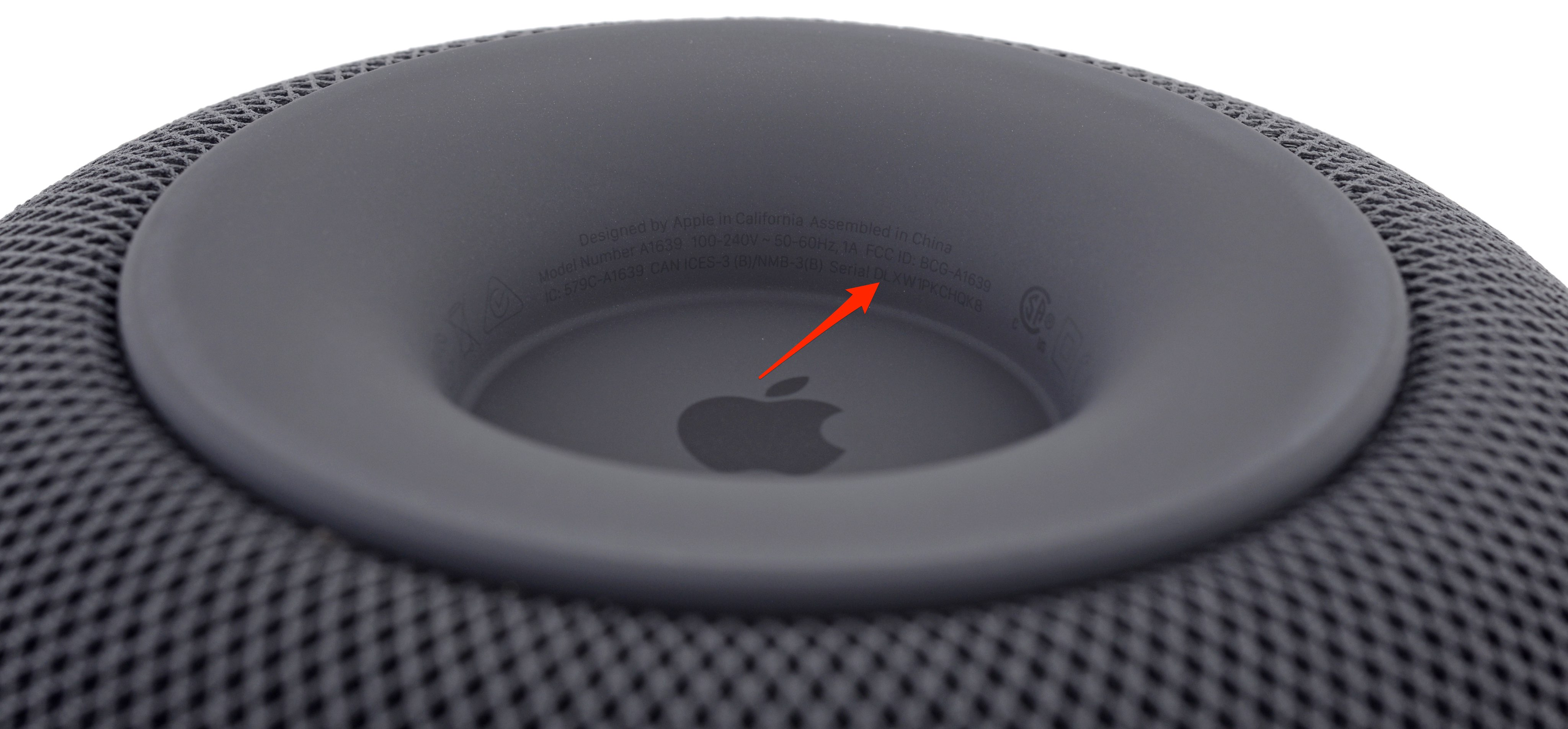 homepod serial number on homepod