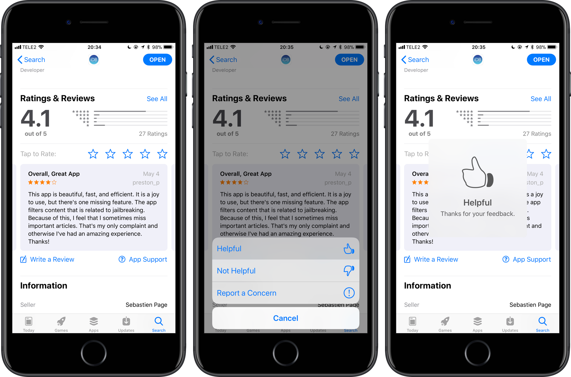 "How to designate reviews in App Store as ""Helpful"" or ""Not Helpful"""