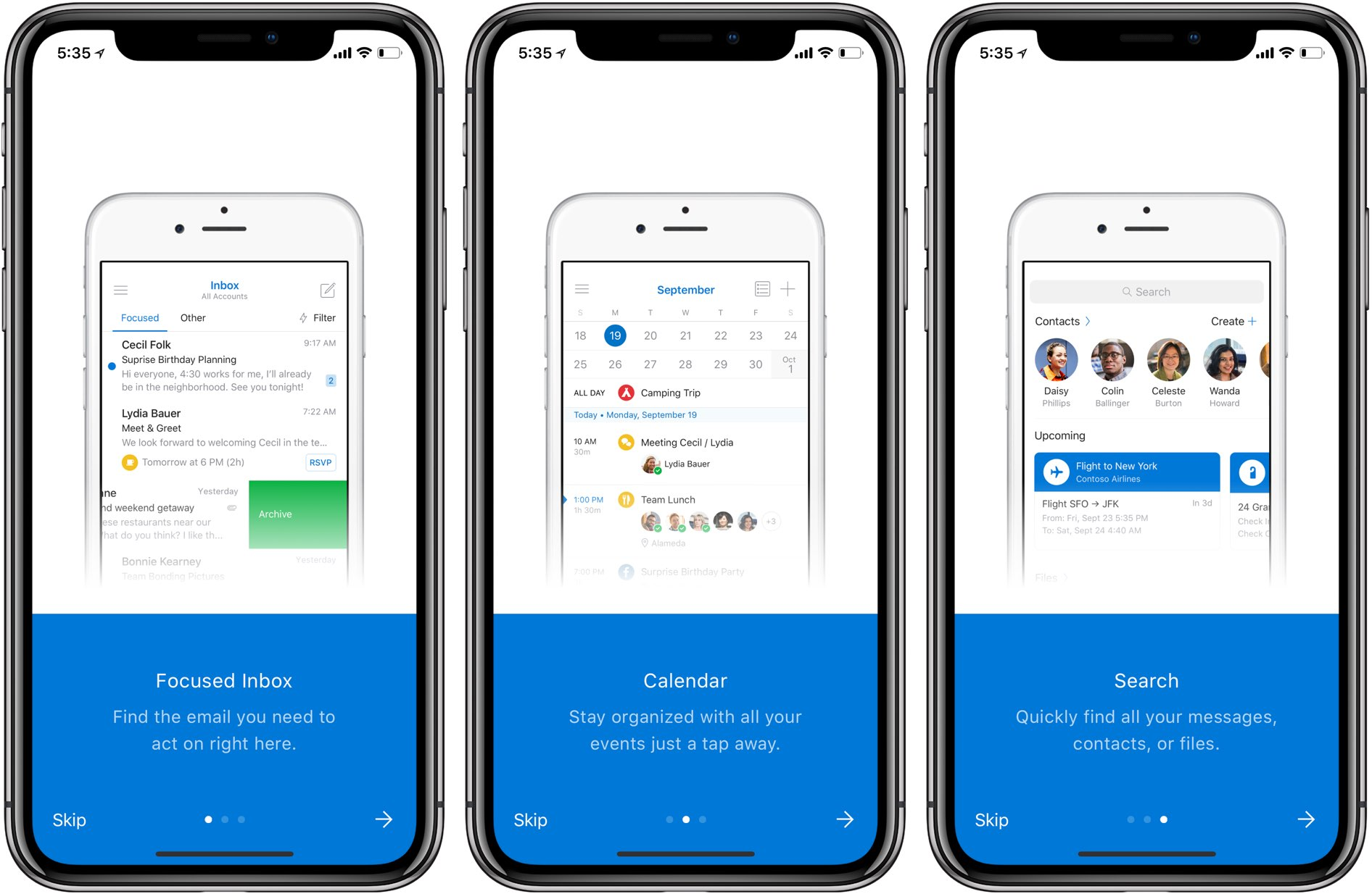 app earlier this morning with full ipad support software giant microsoft also issued an update to outlook for iphone and ipad bringing several search